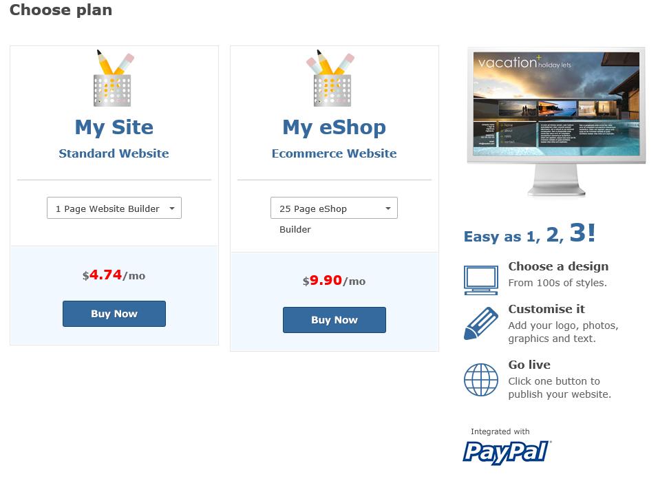 website builder plans